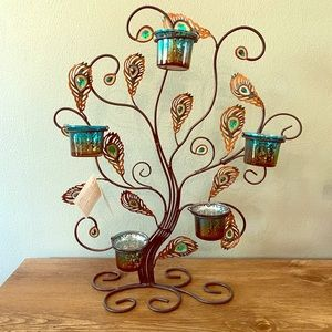 Peacock feather candle holder NWT